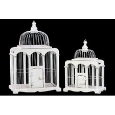 2 Piece Bird Cage with Metal Bars and Ring Hanger Sculpture Set