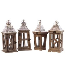 4 Piece Wood Square Lantern Set