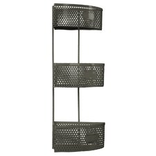 Metal Corner Shelf with 3 Tiers Perforated Sides and 3 Card Holders
