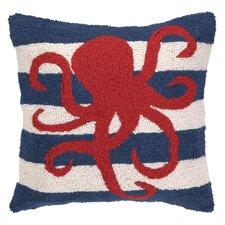 Nautical Hook Octopus Stripe Throw Pillow