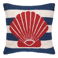 Nautical Hook Seashell Stripe Throw Pillow