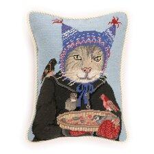 Needlepoint Hat Cat Wool Throw Pillow