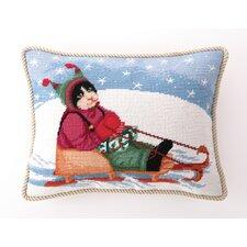 Needlepoint Sledding Cat Wool Lumbar Pillow
