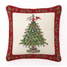 Needlepoint Holly Garden Tree Wool Throw Pillow