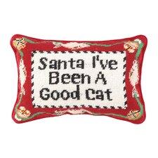 Needlepoint Good Cat Wool Lumbar Pillow