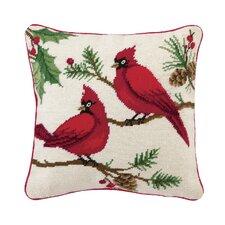 Needlepoint Winterberry Cardinals Wool Throw Pillow