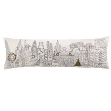 Embroidery Christmas in NYC Cotton Lumbar Pillow
