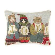 Needlepoint Joy Cats Wool Throw Pillow