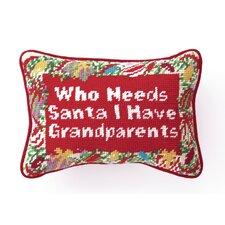 Needlepoint Grandparents Wool Throw Pillow