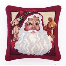 Needlepoint Teddy Bears Santa Wool Throw Pillow