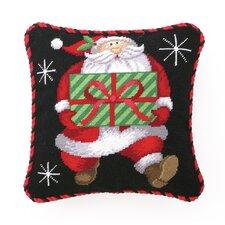 Needlepoint Santa's Gift Wool Throw Pillow