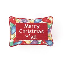 """Needlepoint """"Merry Christmas Y'All"""" Wool Throw Pillow"""