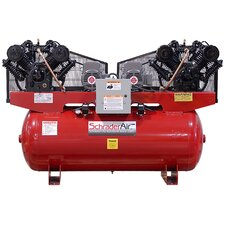Duplex Professional Series Two Stage 7.5 HP 120 Gallon Single Phase Horizontal Air Compressor