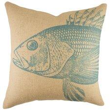 Large Fish Burlap Throw Pillow