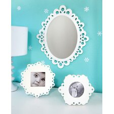 3 Piece Wood Lace Wall Mirror and Picture Frame Set