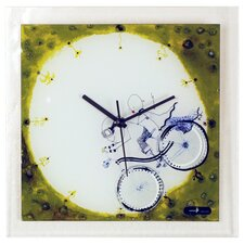 Glass Wall Clock with Boy and Girl on Bicycle
