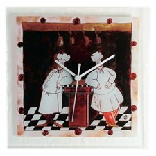 Two Chefs Glass Wall Clock