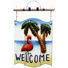 Flamingo Welcome Outdoor Sign