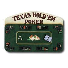 Game Room Hand-Carved Texas Hold'em Poker Sign Wall Décor