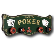 Game Room Hand-Carved Poker Coat Rack