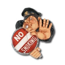Hand-Carved No Smoking Officer Sign