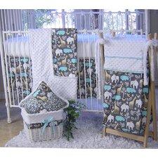 Blue Animal Cookies 3 Piece Crib Bedding Set