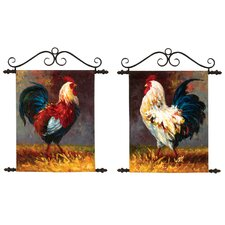 Roosters Original Painting on Canvas (Set of 2)