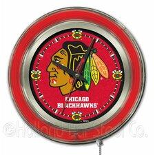 "NHL 15"" Double Neon Ring Logo Wall Clock"
