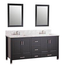 """72"""" Double Bathroom Vanity Set with Mirror"""