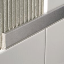 "Decoline 96"" x 1"" Bullnose Tile Trim in Aluminum Shiny Silver Anodized"