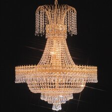 Empire II Fifteen Light Chandelier in 24K Gold Plated