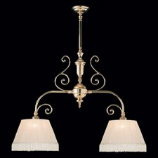 Birmingham 2 Light Kitchen Island Pendant / Billiard Light with Fabric Shade in Polished Brass