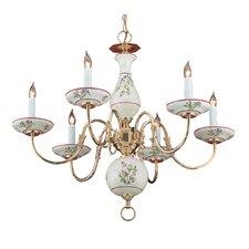 Classic Ceramic Six Light Chandelier in Polished Brass