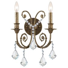 Traditional Classic 2 Light Crystal Candle Wall Sconce