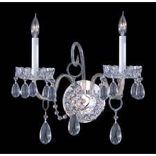 Bohemian Crystal 2 Light Candle Wall Sconce with Clear Crystal
