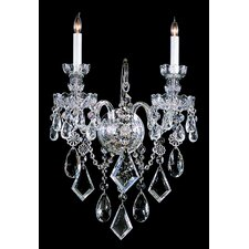 Bohemian Crystal 2 Light Candle Wall Sconce in Majestic Wood Polished Crystal