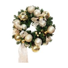 Christmas Balls on a Faux Pine Wreath