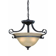 Stanton 2 Light Convertible Semi Flush in English Toffee with Tea-Stained Glas