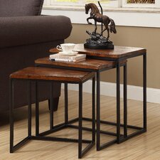 3 Piece Nesting Table Set in Black & Brown