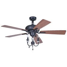 """54"""" Boulevard 5 Blade Aged Bronze Ceiling Fan with Wall Remote"""