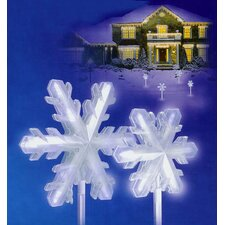 LED Lighted 3-D Snowflake Pathway Markers Christmas Light (Set of 4)