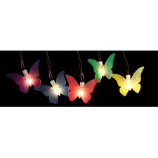 10 LED Battery Operated Butterfly Garden Patio Umbrella Light String with Timer (Set of 10)