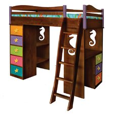 Tropical Seas Twin Loft Bed with Desk and Storage