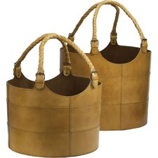 Nested Leather Buckets 2 Piece Set