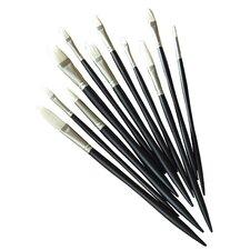 Artists' Hot Bristle Oil Bright Long Handle Brushe (Set of 6)