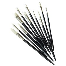 Artists' Hot Bristle Oil Filbert Long Handle Brush (Set of 6)