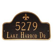 Estate Fleur de Lis Two Line Arch Address Plaque
