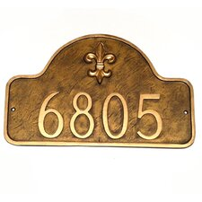 Fleur de Lis One Line Arch Standard Address Plaque