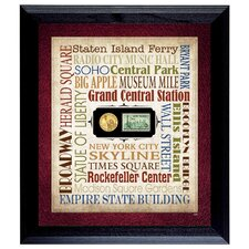 Liberty Lives in New York City Wall Framed Textual Art with Coin and Stamp in Black