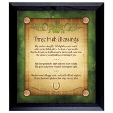 Three Irish Blessings with 4 Lucky Irish Pennies Wall Framed Textual Art